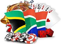 The classic casino games with the South African flag