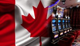 Popular casino games in front of the Canadian flag