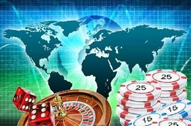 The world map with roulette, dice and chips.